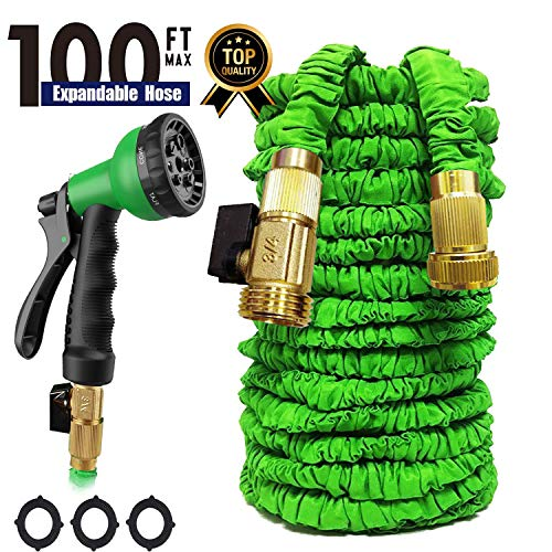 Garden Hose 100 FT Expandable Garden HoseWater Hose, Heavy Duty Water Hose Quick Connect, Strongest Expanding Garden Hose ,8-Way Durable Spray Nozzle Protection For All Your Watering Needs (Green)