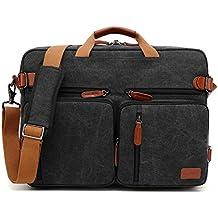 CoolBELL Convertible Backpack Messenger Bag Shoulder Bag Laptop Case Handbag Business Briefcase Multi-Functional Travel Rucksack Fits 17.3 Inch Laptop for Men/Women (Canvas Black)