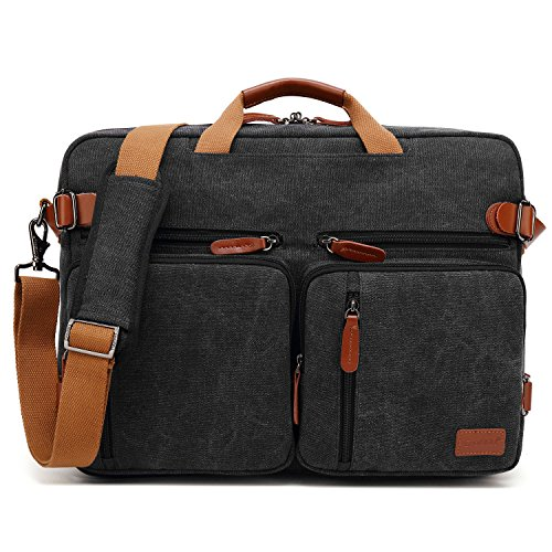 Laptop Portfolio Bag - CoolBELL Convertible Backpack Messenger Bag Shoulder Bag Laptop Case Handbag Business Briefcase Multi-Functional Travel Rucksack Fits 17.3 Inch Laptop for Men/Women (Canvas Black)