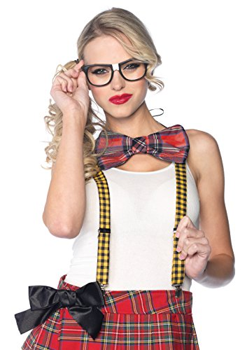 Leg Avenue 3 Piece Nerd Costume Kit Includes Suspenders Bow Tie and Glasses, Multicolor, One Size -