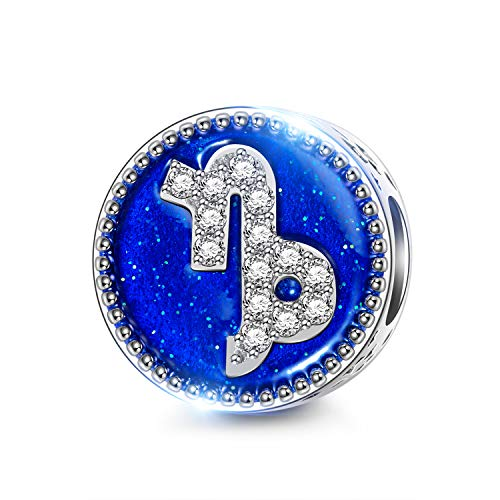 NINAQUEEN 11MM Blue Enamel Capricorn Constellation Style Snap Jewelry Beads Charms for Pandöra Bracelet Necklace Valentines Birthday Gifts for Daughter Wife Mom Girlfriend Sister Niece Aunt Teacher -
