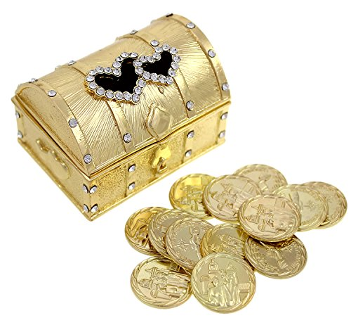 Wedding Unity Coin Set - Arras de Boda - Treasure Double Heart Chest Box with Decorative Rhinestone Crystals 68 (Gold)