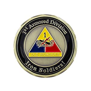 "Military Challenge Coin, 1.75"" Metal: AttaCoin - US Army 1st Armored Division - 1.75 Inch - Solid Brass Metal Award Coin - Manufactured by Contractor to Government Spec"
