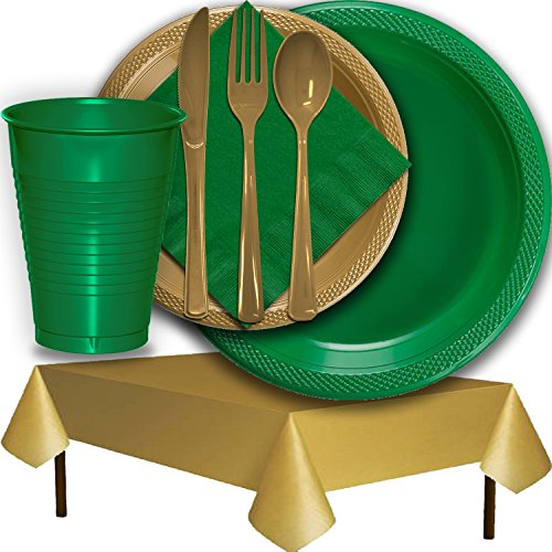 (Plastic Party Supplies for 50 Guests - Emerald Green and Gold - Dinner Plates, Dessert Plates, Cups, Lunch Napkins, Cutlery, and Tablecloths - Premium Quality Tableware Set)