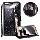 Luxury Glitter Bling Zipper Wallet Phone Case for Samsung Galaxy S7 Edge, MOIKY Bookstyle PU Leather Flip Folio Magnetic Purse Pockets Credit Card Holder Wrist Strap Case Cover for Samsung Galaxy S7 Edge - Black