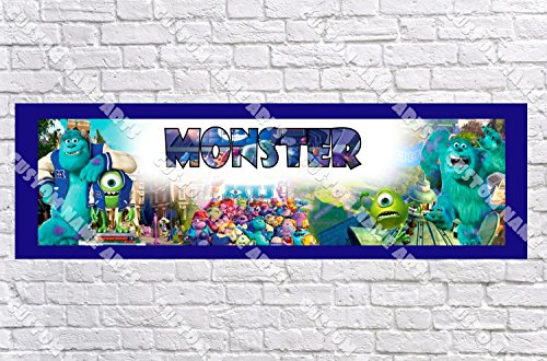 Personalized Monster University Inc Banner - Includes Color Border Mat, With Your Name On It, Party Door Poster, Room Art Decoration - Customize
