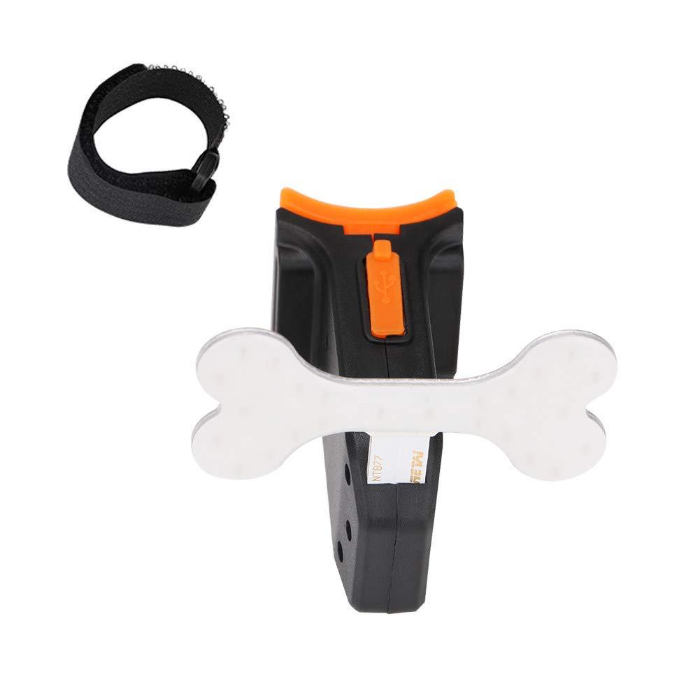 Baulody LED USB Rechargeable Bone Bike Bone Tail Light Bicycle Safety Cycling Warning Lamp (Black)