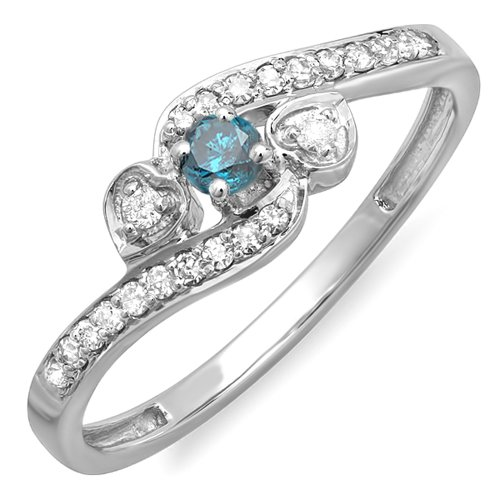 0.25 Carat (ctw) 18k White Gold Blue And White Diamond Bridal Promise Heart 3 Stone Swirl Ring 1/4 CT 51unx FerCL home Home 51unx FerCL