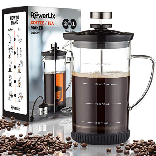 POWERLIX French Press Coffee Maker (34 oz)– Coffee Press and Tea Press for Coffee & Loose Tea, Includes Heat Resistant…