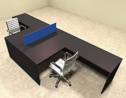 Amazon Com Two Person Blue Divider Office Workstation Desk Set Ot