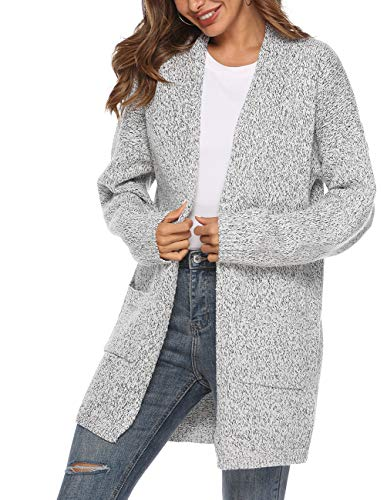 Women's Casual Sweater Cardigan Open Front Long Sleeve Cable Knit Sweater Pockets Grey