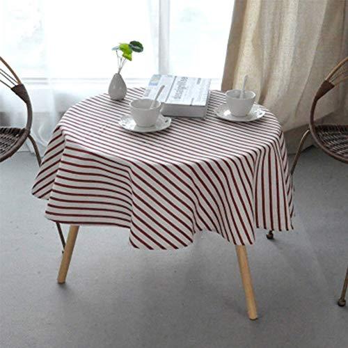 ONECHANCE Mantel de Lino de algodon Lavable con Estampado Floral, Cubierta de Mesa Redonda Ideal para Cocina, Mesa de Comedor, decoracion de Buffet Color Rayas Vino Rojo Size 150cm Redondo