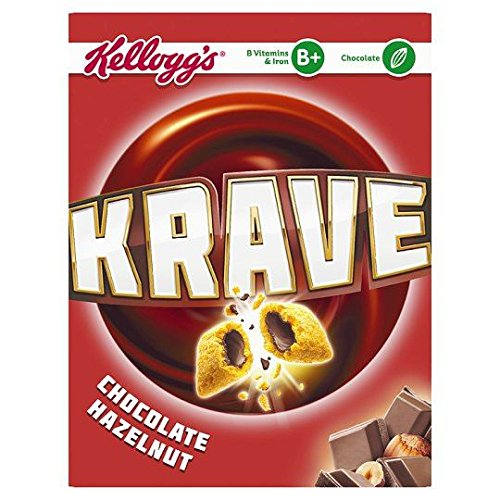 Kellogg's Krave Cereal Chocolate Hazelnut - 375g - Pack of 2 (375g x 2 Boxes) (Hazelnut Cereal)