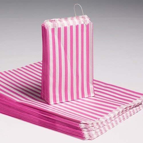 """100 X Candy Stripe Paper Bags Food Bags Stripy Paper Bags – 7"""" X 9"""" – Pink Stripy Bags"""