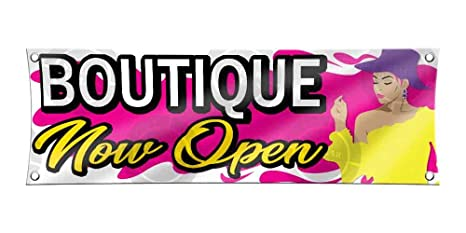 Amazon com : Boutique Now Open Banner (24 inches X 52 inches