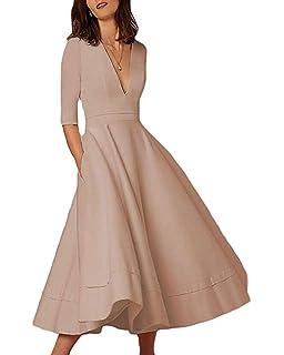 Lalagen Womens Vintage 3 4 Sleeve V Neck Flare Plus Size Cocktail Party Midi  Dress 2d439526c