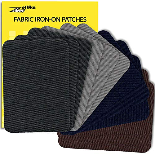 ZEFFFKA Premium Quality Fabric Iron On Patches Deep Blue Gray Brown 12 Pieces 100% Cotton Repair Kit 3
