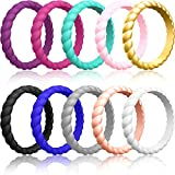 ThunderFit Thin Silicone Wedding Rings for Women (Purple, Rose Gold, Sky Blue, Light Grey, Black, Blue, Rose Pink, Light Pink, White, Gold, 5.5-6 (16.5mm))