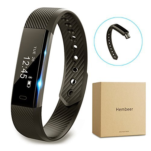 Fitness tracker watch, Hembeer V1 Smart Band with Step Tracker, Pedometer Bluetooth Bracelet Activity Tracker/ Sleep Monitor, Calories Track Sweatproof Health Band for iPhone & Android phones, Black