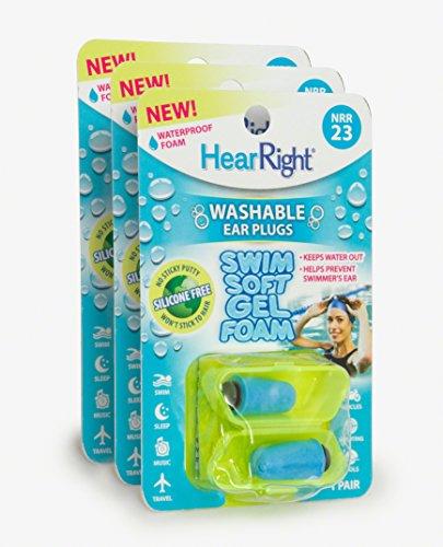HearRight Swim Soft Ear Plugs – Waterproof Ear Plugs for Swimmer's Ear (3-Pack)