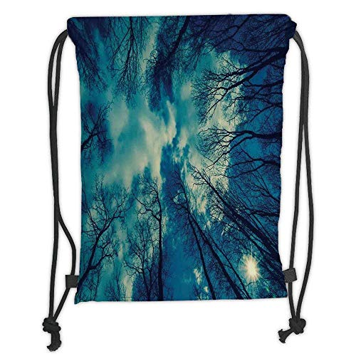 Custom Printed Drawstring Backpacks Bags,Farm House Decor,View to Trees tops and Cloudy Sky Weather Heaven Dream Night Ups Giver of Life Theme,Blue Black Soft Satin,5 Liter Capacity,Adjustable St ()