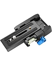 Neewer Professional Aluminum Alloy Quick Shoe Plate Adapter with 1/4 3/8 inches Screw for DSLR Camera Camcorder Tripod Monopod,Compatible with Manfrotto 501HDV 503HDV 701HDV 577/519/561/Q5(Blue+Black)