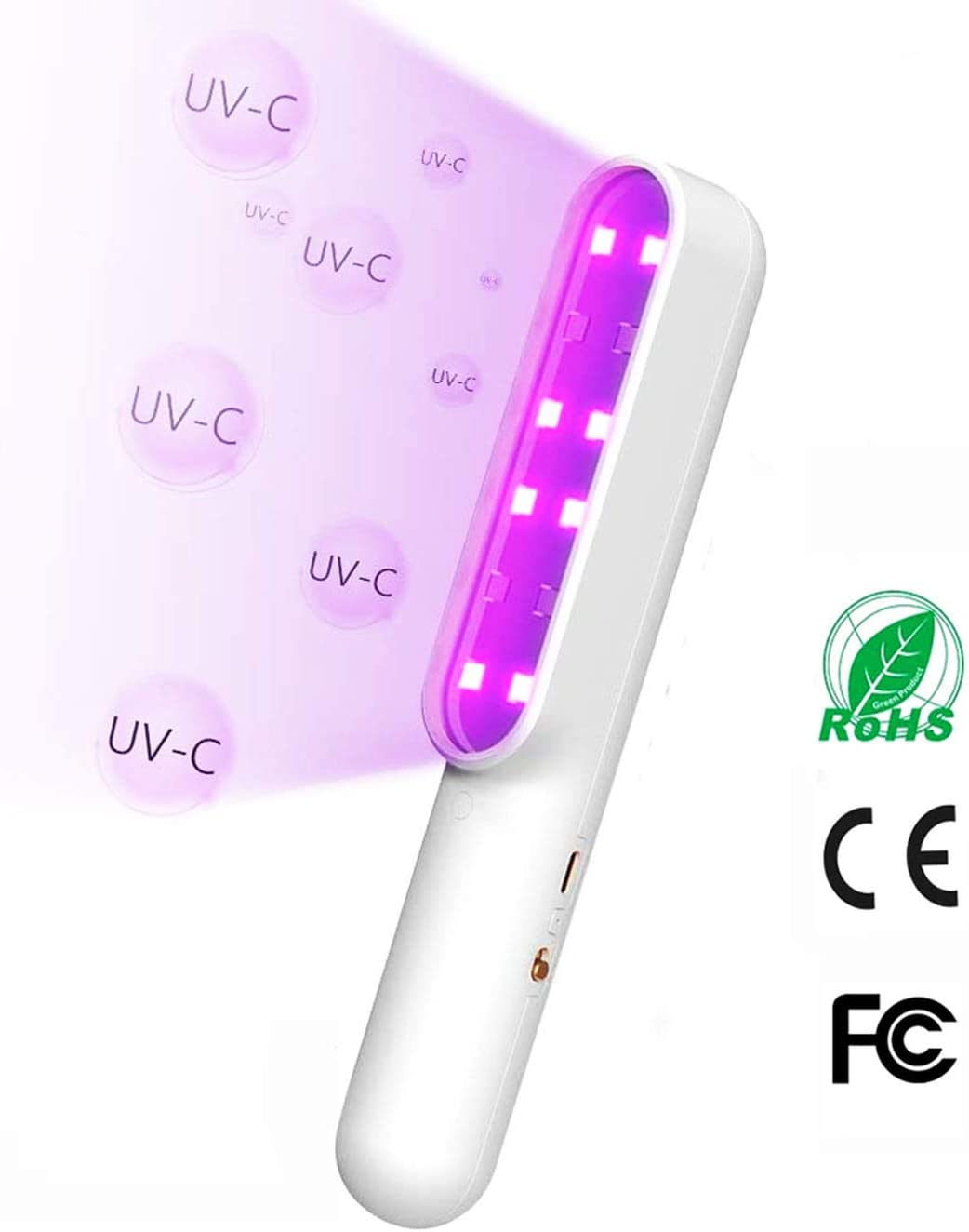 GEENO UV Light Sanitizer Wand USB Charging Sterilizer for Home Hotel Toilet Car Pet Disinfecting Cleaner,White
