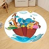 Gzhihine Custom round floor mat Noahs Ark Decor of Many Animals Sailing in the Boat Mythical Journey Faith Giraffe Story Art Bedroom Living Room Dorm Decor Multi