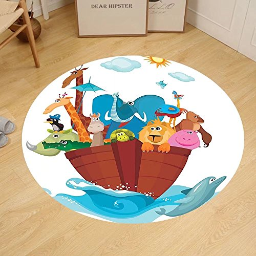 Gzhihine Custom round floor mat Noahs Ark Decor of Many Animals Sailing in the Boat Mythical Journey Faith Giraffe Story Art Bedroom Living Room Dorm Decor Multi by Gzhihine
