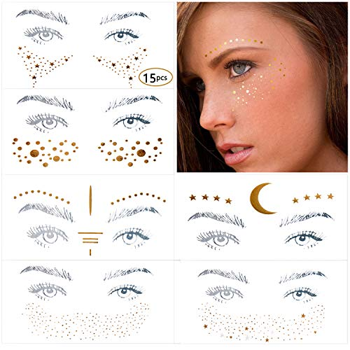 Sun And Moon Halloween (11 Different Styles Face Tattoo Sticker, Freckle Sticker, Face Metallic Temporary Tattoo Water Transfer Tattoo for Professional Make up Dancer Costume)