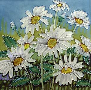 Amazon Com Daisy Flower Ceramic Wall Art Tile 8x8 Home