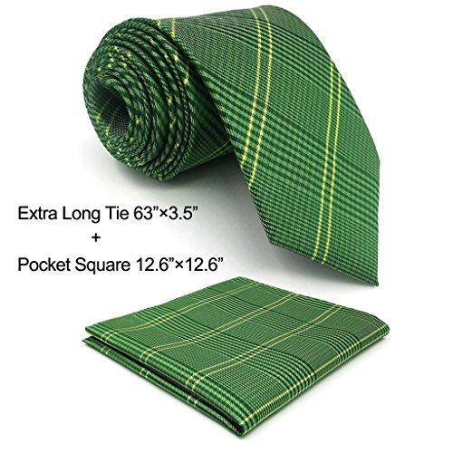 Shlax&Wing Checkered Green Men's Neckties Silk Tie For Men Business Suit Fashion Green Necktie