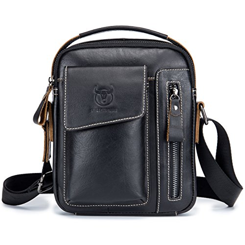 Price comparison product image BULL CAPTAIN Fashion Small Messenger Bag for Iphone 7 Plus Real Leather Casual Shoulder Bags Multi-pocket Purse Handbag Crossbody Bags ZB-037 (Black)