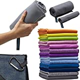 Microfiber Travel Towel, XL 30x60' - FREE Fast Dry Hand Towel - Our Super Absorbent Dry Towel is So Soft, Lightweight and Compact - Great for Camping, Gym or a Beach Towel, Includes Handy Carry Bag