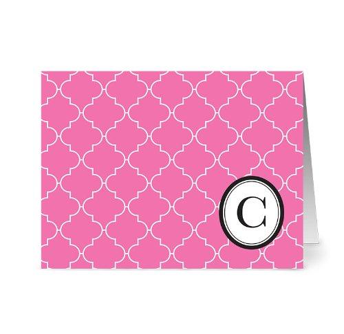 Card Lattice (Modern Lattice 'C' Bubblegum Monogram - 24 Cards - Blank Cards w/ Grey Envelopes Included)