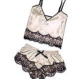 Women Babydoll Nightwear Pajamas Sexy Nightdress Silk Lace Lingerie Nightgown Sleepwear Satin Pajamas Lace Sling Shorts Two-Piece Set (Beige, M)