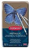 Derwent Metallic Water-soluble Pencils, 3.4mm Core, Metal Tin, 12 Count (0700456)