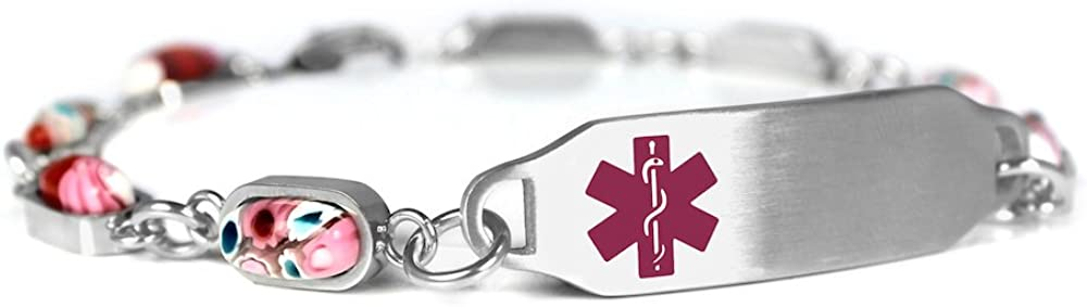 Steel /& Glass My Identity Doctor Blank Medical Alert Bracelet for Women