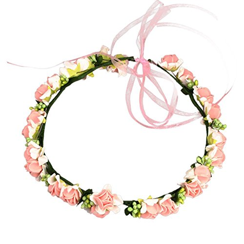 JustVH Exquisite Flower Crown Flower Headband Bridal Wreath with Adjustable Ribbon -
