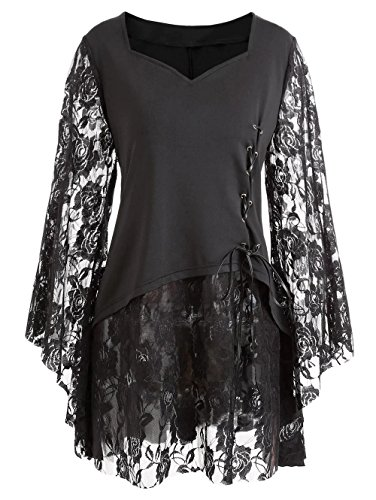 Fenxxxl Women's Plus Size Vintage Halloween Costumes Bell Sleeves Lace Pin Up Blouse Victorian Gothic Shirt F3 Black 3XL -