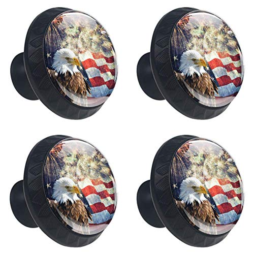 (Anmarco Patriotic Eagle Fourth of July Drawer Knobs Pull Handles 30MM 4 Pcs Glass Cabinet Drawer Pulls for Home Kitchen Cupboard )