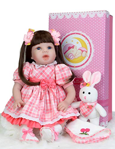 "(Sweet Collection Pink Lifelike Reborn Baby Doll 6-Piece Gift Set 22""Silicone Weighted Dress Baby Girl Perfect Birthday and Xmas)"