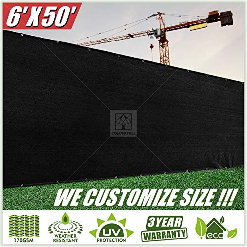 ColourTree 2nd Generation 6' x 50' Black Fence Privacy Screen Windscreen Cover Fabric Shade Tarp Netting Mesh Cloth - Commercial Grade 170 GSM - Heavy Duty - 3 Years Warranty - CUSTOM SIZE AVAILABLE