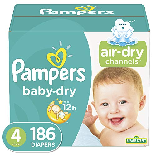 Diapers Size 4, 186 Count - Pampers Baby Dry Disposable Baby Diapers, ONE MONTH SUPPLY from Pampers