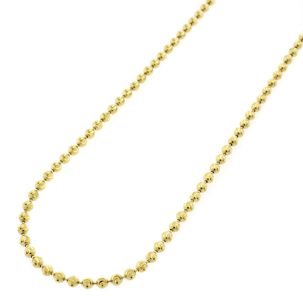 14k Yellow Gold 2mm Moon Cut Ball Bead Solid Necklace Chain 16'' - 30'' (24)