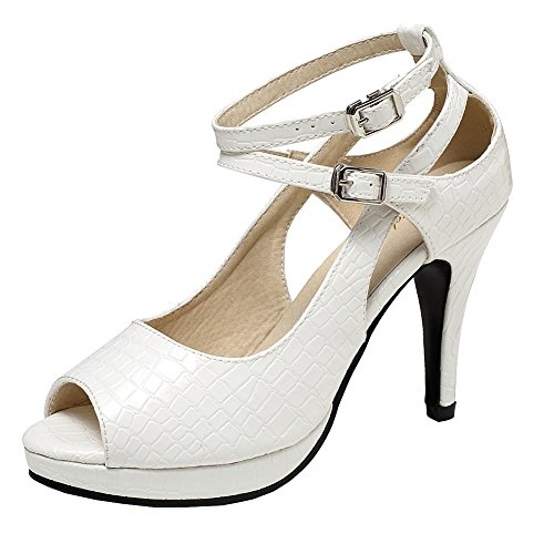(getmorebeauty Women's White Snake Stripe Ankle Straps Dress Heeled Sandals 8 B(M) US)