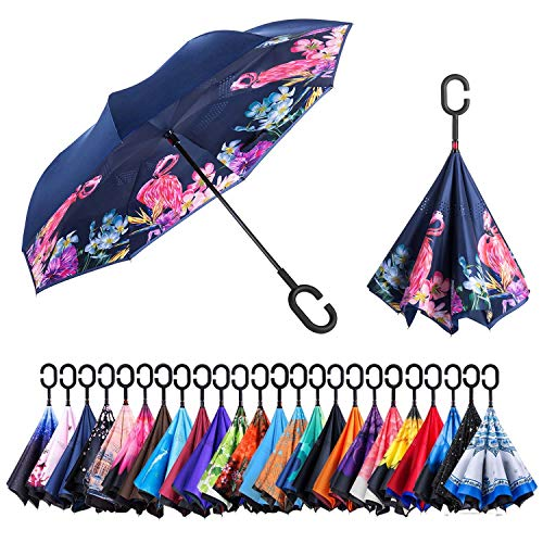 AmaGo Windproof Inverted Umbrella - UV Protection Double Layer Reverse Folding Long Self Standing Umbrella with C-Shape Handle for Car Rain Outdoor Travel (Flamingo)