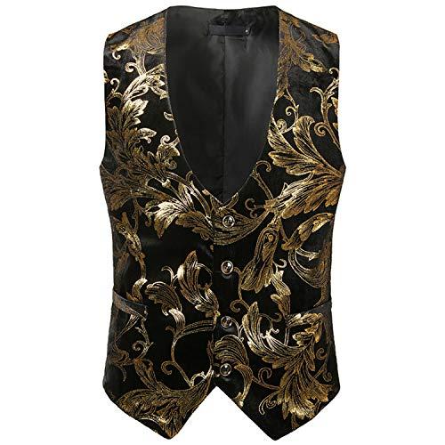 Pragmaticv Bronzant Pour Brillant Silver2 Floral Gilet Hommes Steampunk Mariage rzwrqvg