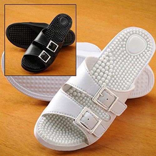 Women's Massage Sandals, Set of 2 Pairs! 1 Black & 1 White (Women's US Size 6)