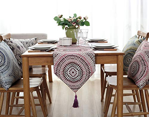 YJBear Polyester Bohemian Flower Pattern Breathable Jacquard Weave Home Decoration with Fringe Kitchen Table Runner for Parties Halloween Christmas Machine Washable Pink 12